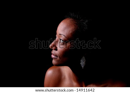 Black woman looking left - stock photo