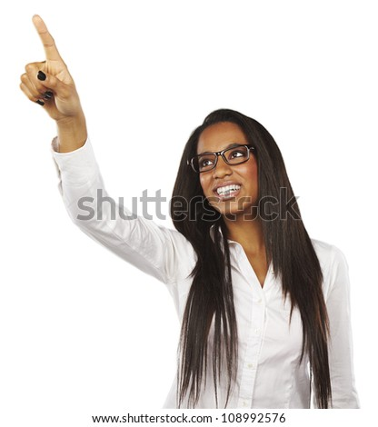 Black woman pointing at copy-space
