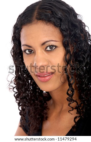 black woman portrait isolated over a white background - stock photo