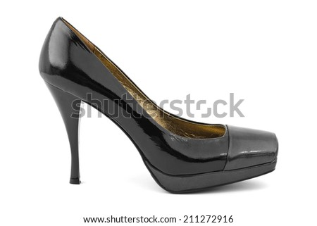 Black woman shoe isolated on white background