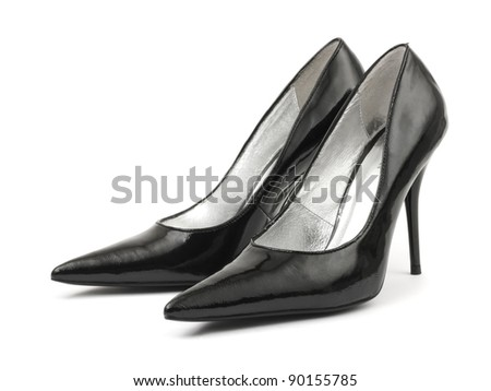 Black woman shoes isolated on white background - stock photo