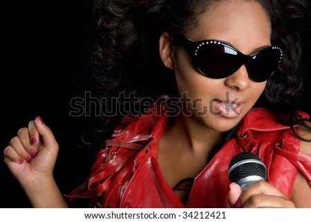 Black Woman Singing - stock photo