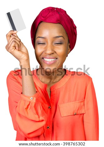 black woman with a credit card