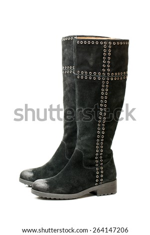 black women's boots on white background  - stock photo
