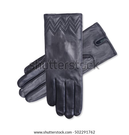 Black women's leather  gloves isolated on white