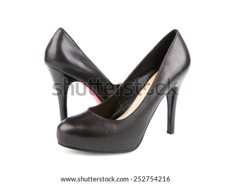 Black women shoes isolated on white - stock photo