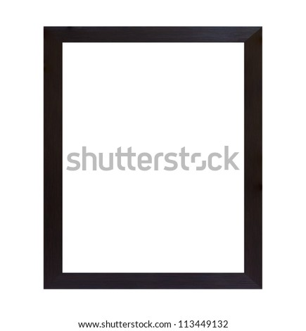 Black wood frame isolated on white background - stock photo
