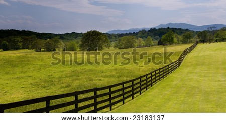 Black wooden fence on a Virginia ranch with green grass field in the foreground and forest in the background. - stock photo