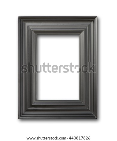 Black wooden frame isolated on white - stock photo