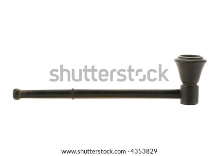Black wooden pipe isolated over a white background