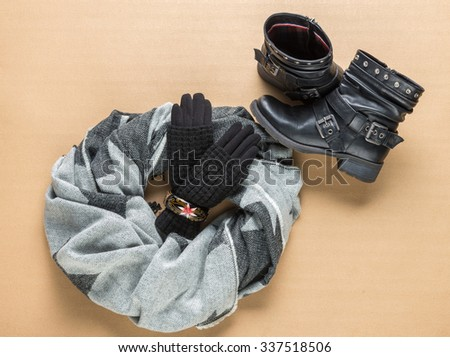 Black woolen knitted gloves, scarf and boots