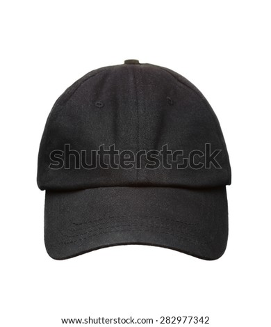 Black working peaked cap. Front  view. Isolated on a white background.