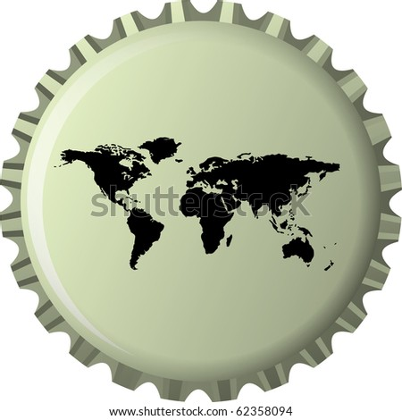 black world map against bottle cap, abstract  art illustration; for vector format please visit my gallery