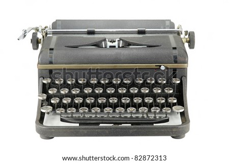 Black worn vintage typewriter on white background - stock photo