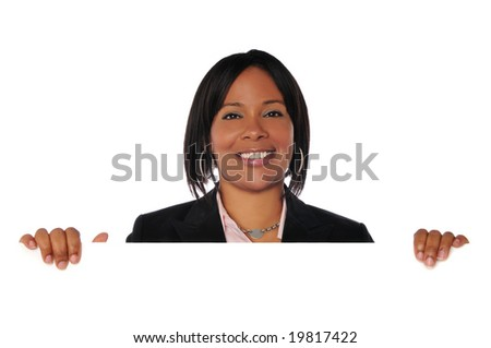 Black young businesswoman holding a blank sign isolated on white - stock photo