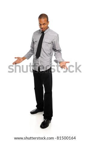 Black young Man standing and wearing a tie isolated on a white background