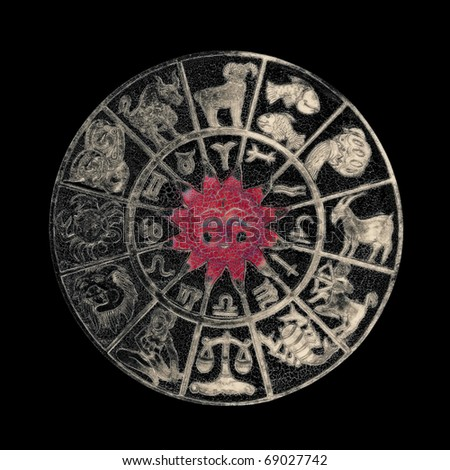 Black zodiac wheel with clipping path included - stock photo
