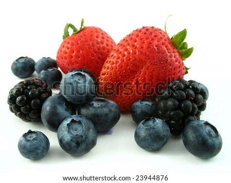 blackberries, strawberries, and blueberries isolated on white - stock photo