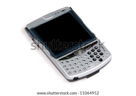 blackberry pda cellphone isolated on white background - stock photo