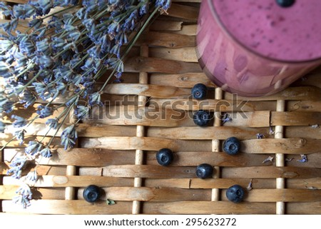Blackberry with lavender and milkshake - stock photo