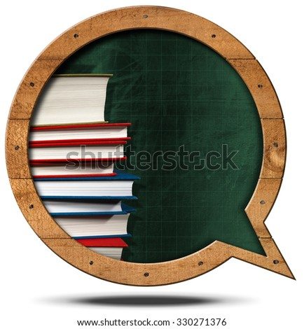 Blackboard and Books - Speech Bubble Shaped / Empty blackboard with wooden frame in the shape of a speech bubble with a stack of books. Isolated on white background - stock photo