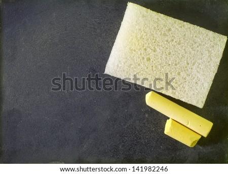 blackboard and chalk - stock photo