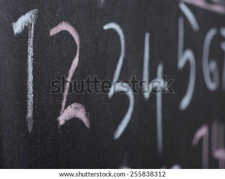 Blackboard chalkboard in school with numbers - stock photo