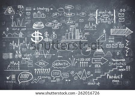 Blackboard chalkboard texture infographics collection hand drawn doodle sketch business ecomomic finance elements. - stock photo