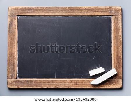 Blackboard chalkboard texture with chalk - stock photo