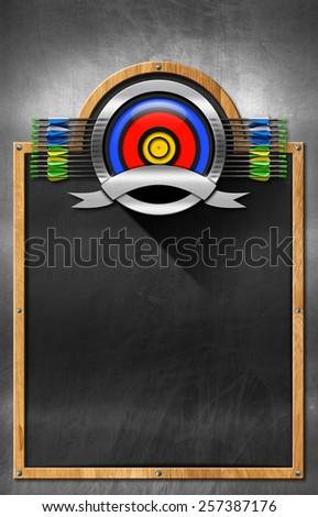 Blackboard for Archery. Empty blackboard with wooden frame and metallic archery symbol. Template for archery sport - stock photo