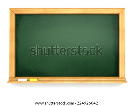 Blackboard or chalkboard on white isolated background. 3d - stock photo