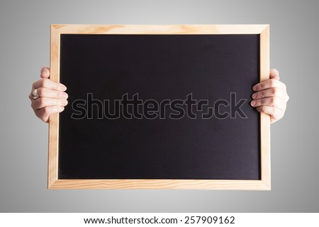 blackboard over grey background - stock photo