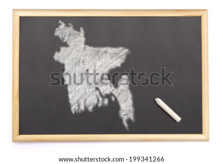 Blackboard with a chalk and the shape of Bangladesh drawn onto. (series) - stock photo