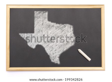 Blackboard with a chalk and the shape of Texas drawn onto. (series) - stock photo
