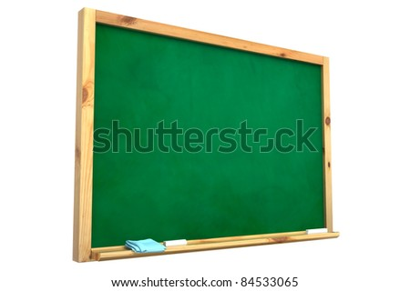Blackboard with a chalk on a white background. - stock photo