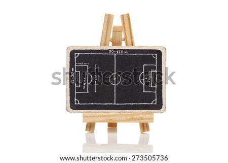 Blackboard with a drawing of a blank Football field dimensions - stock photo