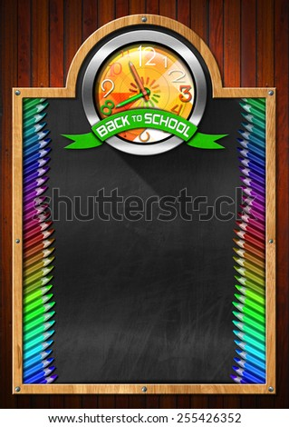 Blackboard with Back to School Clock. Blackboard with symbol with a colorful clock with clock hands in the shape of colored pencils and green ribbon with text back to school - stock photo