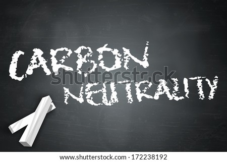 Blackboard with Carbon Neutrality wording - stock photo