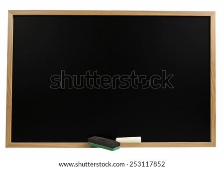 Blackboard With Chalk And Eraser Isolated On White - stock photo
