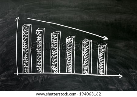 Blackboard with declining chart. - stock photo