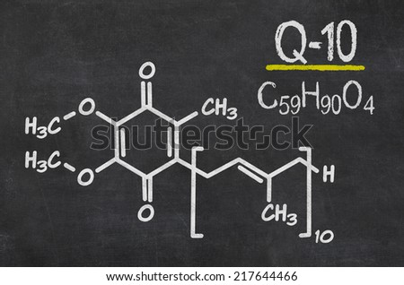 Blackboard with the chemical formula of coenzyme q10 - stock photo