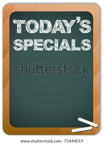 Blackboard with Today's Specials Message written with Chalk - stock photo