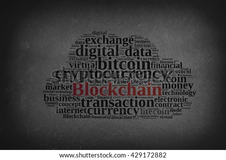 Blackboard with word cloud with the word Blockchain.3D rendering.