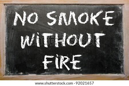 """Blackboard writings """"No smoke without fire"""" - stock photo"""