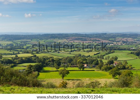 Blackdown Hills east Devon countryside view from East Hill near Ottery St Mary an Area of Outstanding Natural Beauty