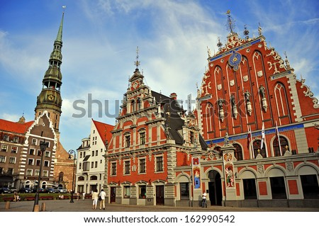 Blackheads House, City Hall, the Cathedral of St. Peter in the center of Riga - stock photo