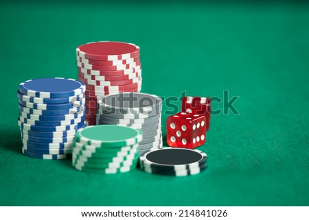 Blackjack In A Casino ,Chips And Red Dice - stock photo