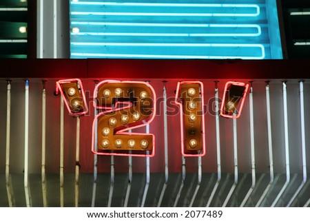 Blackjack neon lights - stock photo