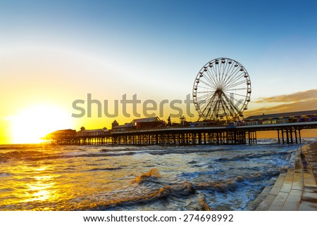 Blackpool Central Pier and Ferris Wheel, Lancashire, England UK - stock photo