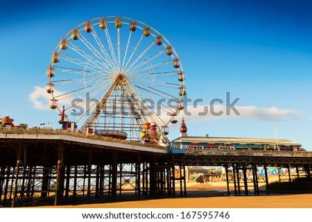 Blackpool Central Pier Ferris Wheel - stock photo